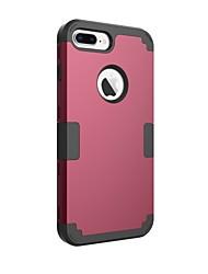 olcso -BENTOBEN Case Kompatibilitás Apple iPhone 8 Plus Ütésálló Fekete tok Egyszínű Kemény Szilikon / PC mert iPhone 8 Plus