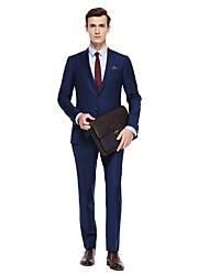 preiswerte -Schwarz / Dunkelmarine / Colored Gray Solide Reguläre Passform Wollmischung Anzug - Steigendes Revers Einreiher - 2 Knöpfe