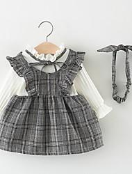 お買い得  -幼児 女の子 甘い / かわいいスタイル チェック リボン / プリーツ 長袖 膝丈 コットン ドレス ピンク