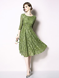 710ec321444 cheap -Casual Dress A-Line Jewel Neck Knee Length Lace Dress with Pattern