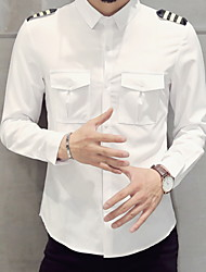 levne -Pánské - Jednobarevné Košile Bílá XXXL