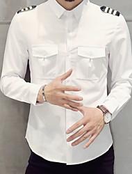 economico -Camicia Per uomo Tinta unita Bianco XXXL