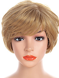 cheap -Synthetic Wig / Bangs Natural Straight Style Side Part Capless Wig Golden Light golden Synthetic Hair 12 inch Women's Fashionable Design / Women / Synthetic Golden Wig Short Natural Wigs