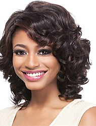 abordables -Pelucas sintéticas Afro Kinky Estilo Parte lateral Sin Tapa Peluca Marrón Marrón / Borgoña Pelo sintético 16 pulgada Mujer Clásico / Mujer / Para mujeres de color Marrón Peluca Longitud Mediana