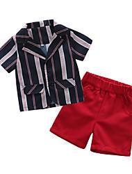 お買い得  -赤ちゃん 男の子 ベーシック ストライプ 半袖 レギュラー ポリエステル アンサンブル ブルー
