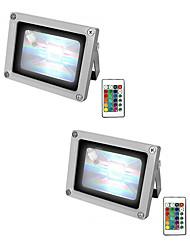 billige -2pcs 10 W LED-lyskastere Vanntett / Fjernstyrt / Mulighet for demping RGB + Hvit 85-265 V Utendørsbelysning / Svømmebasseng / Courtyard 1 LED perler