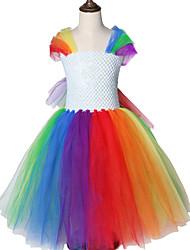 お買い得  -子供 / 幼児 女の子 甘い / かわいいスタイル ソリッド メッシュ ノースリーブ ミディ スパンデックス ドレス