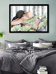 cheap -Framed Canvas Framed Set - People Floral / Botanical Plastic Illustration Wall Art