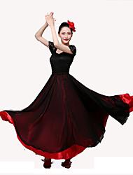 levne -Latinské tance Spodní část oděvu / Flamenco Dámské Výkon Saténový šifon Klín Přírodní Sukně