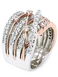 Недорогие -Жен. Белый Цирконий Пасьянс Обручальное кольцо Позолота Роскошь Модные кольца Бижутерия Белый / Розовое золото Назначение Свадьба Обручение