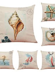 hesapli -6 set deniz yaşamı keten yastık örtüsü ev ofis kanepe kare yastık kılıfı dekoratif yastık örtüleri yastık kılıfı (18 * 18 inç)