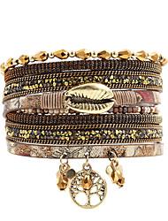Недорогие -Мода женщин Lifetree металлическая губа горный хрусталь хрустальные бусины кожаный браслет