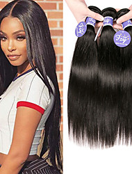 cheap -3 Bundles Malaysian Hair Straight Unprocessed Human Hair 100% Remy Hair Weave Bundles Headpiece Natural Color Hair Weaves / Hair Bulk Bundle Hair 8-28 inch Natural Human Hair Weaves Silky Smooth Woven
