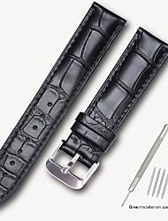 Недорогие -Настоящая кожа / Кожа / Шерсть теленка Ремешок для часов Ремень для Черный / Коричневый 17см / 6,69 дюйма / 18cm / 7 дюймы / 19cm / 7.48 дюймы 1.4cm / 0.55 дюймы / 1.6cm / 0.6 дюймы / 1.8cm / 0.7