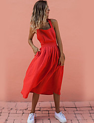 cheap -Women's A Line Dress - Solid Colored Red M L XL