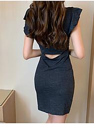 お買い得  -女性用 ベーシック シース ドレス - パッチワーク, ソリッド 膝上