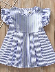 お買い得  -赤ちゃん 女の子 ベーシック ストライプ ノースリーブ ポリエステル ドレス ブルー