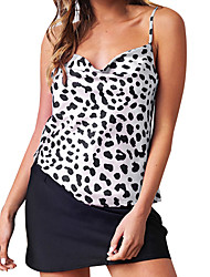 levne -Dámské - Leopard Bez rukávů, Volná záda / Tisk Světlá růžová L