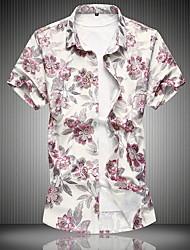 お買い得  -男性用 シャツ フラワー ブルー XXXXL