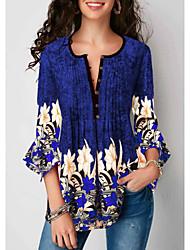 billige -Bomull V-hals T-skjorte Dame - Blomstret, Lapper Svart XXXL