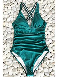 Недорогие -Жен. Зеленый Закрытый купальник Купальники - Однотонный M L XL Зеленый