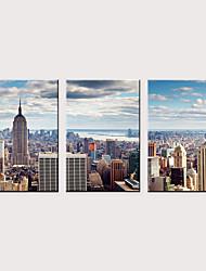זול -דפוס הדפסי בד מגולגל - אדריכלות מודרני קלסי שלושה פנלים