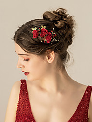 cheap -Flannel Headdress / Hair Accessory with Flower / Metal 1 pc Wedding / Party / Evening Headpiece