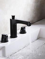 رخيصةأون -بالوعة الحمام الحنفية - واسع الانتشار الكروم / برونز مفروك بزيت واسع الأنتشار مقبضين ثلاثة ثقوبBath Taps