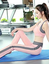 voordelige -3 stuks Dames Patchwork Yoga pak Zwart Roze Sport Kleurenblok Sportoutfits Yoga Gym training 3/4 mouw Sportkleding Ademend Sneldrogend Zweetafvoerend Power Flex Rekbaar