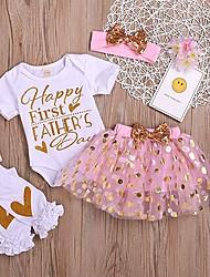お買い得  -赤ちゃん 女の子 ベーシック プリント プリント 半袖 レギュラー コットン アンサンブル ホワイト