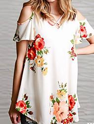 economico -T-shirt Per donna Fantasia floreale Bianco M