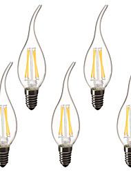Недорогие -5 шт. 3 W LED лампы в форме свечи LED лампы накаливания 300 lm E14 C35L 4 Светодиодные бусины Высокомощный LED Декоративная Тёплый белый 220-240 V 220 V 230 V
