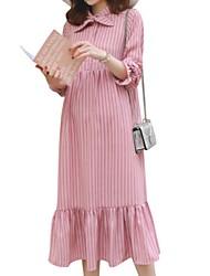 お買い得  -女性用 シフト ドレス ストライプ ミディ