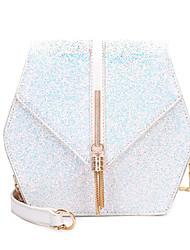 cheap -Women's Bags PU(Polyurethane) Crossbody Bag Sequin / Tassel Solid Color White / Black / Blushing Pink