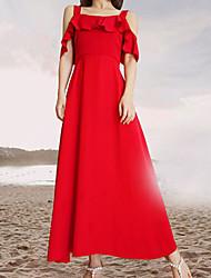 رخيصةأون -فستان نسائي متموج طويل للأرض لون سادة