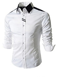 cheap -Men's Shirt - Solid Colored White L