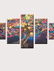 preiswerte -Druck Gerollte Leinwand Aufgespannte Leinwandrucke - Modern Kunst, Kunstgewerbe & Handarbeit Klassisch Modern Fünf Panele