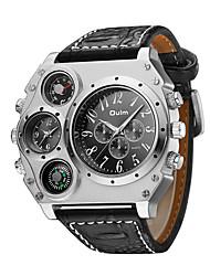 Недорогие -Oulm Муж. Армейские часы Наручные часы Авиационные часы Кварцевый Японский кварц Крупногабаритные Кожа Черный / Коричневый Термометр С двумя часовыми поясами Cool Аналоговый Черный Коричневый