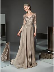 رخيصةأون -A-الخط V رقبة طول الأرض شيفون فستان أم العروس مع زينة / ثنيات بواسطة LAN TING BRIDE®
