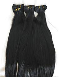 זול -שיער קלוע ישר תוספות שיער משיער אנושי שיער אנושי חלק 1 שיער צמות שחור 18 אִינְטשׁ 18 אינץ' קלאסי / טבעי לבוש יומיומי / עבודה שיער פרואני