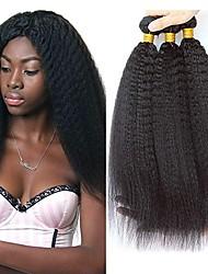 economico -6 pacchi Brasiliano Kinky liscia capelli naturali Remy Ciocche a onde capelli veri Bundle di capelli Un pacchetto di soluzioni 8-28inch Colore Naturale Tessiture capelli umani Cascata Carino Sicurezza