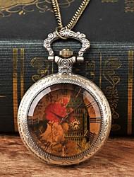 お買い得  -男性用 懐中時計 クォーツ ブロンズ カジュアルウォッチ 大きめ文字盤 ハンズ 花型 ヴィンテージ - Brown