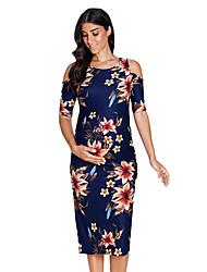 levne -Dámské Základní Shift Šaty - Květinový, Vystřižený Nabírané šaty Délka ke kolenům