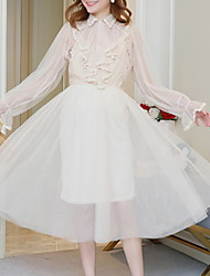 levne -Dámské Elegantní A Line Šaty - Jednobarevné Midi