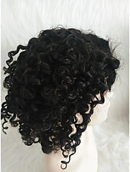 cheap -Human Hair Lace Front Wig Middle Part style Brazilian Hair Kinky Curly Black Wig 130% Density Women Black Women's Short Others