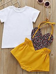 Недорогие -малыш Девочки На каждый день Однотонный С короткими рукавами Обычный Полиэстер Набор одежды Желтый
