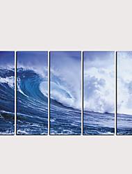 billige -Trykk Valset lerretskunst - Landskap Akvatisk og nautisk Klassisk Moderne Fem Paneler