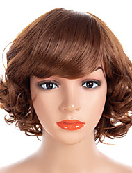 cheap -Synthetic Wig / Bangs Curly / Water Wave Style Side Part Capless Wig Brown Brown / Burgundy Synthetic Hair 14 inch Women's Fashionable Design / Women / Synthetic Brown Wig Medium Length Natural Wigs