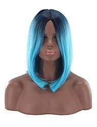 levne -Syntetické paruky Rovné, bláznivé Styl Střední část Bez krytky Paruka Modrá černá / modrá Umělé vlasy 12 inch Dámské Zářící barvy Modrá Paruka Poloviční délka Přírodní paruka