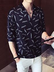 Недорогие -Муж. С принтом Рубашка Буквы Белый XL